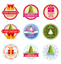 vintage christmas gift labels banners and vector image