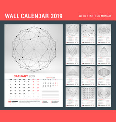 wall calendar template for 2019 year with vector image
