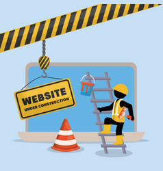 Website under construction with laptop vector
