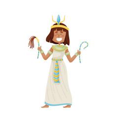 Woman in a long white dress pharaoh vector