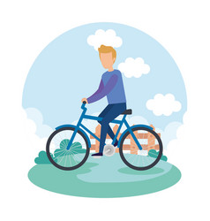 young man on bicycle character vector image