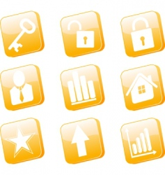 3d orange icons set vector image vector image