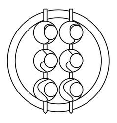 asian shashlik icon outline style vector image vector image