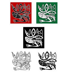 Celtic ornament with heron bird vector image vector image