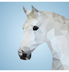 Head of a white horse in triangular style vector image