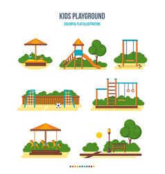 kids playground sandpit slide football field vector image vector image