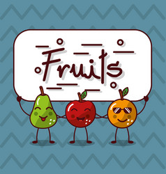 cute kawaii fruits happy characters vector image