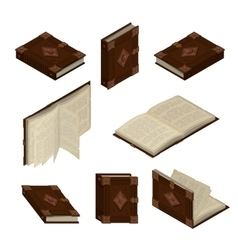 Set of old isometric books vector image vector image