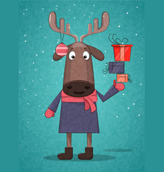 cute christmas deer holding presents for vector image