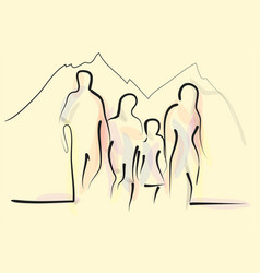 family hiking vector image