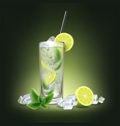 mojito cocktail with fresh sliced lime vector image vector image