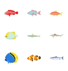 Ocean fish icons set cartoon style vector image