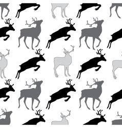 Seamless pattern with deer gray and black and wite vector image