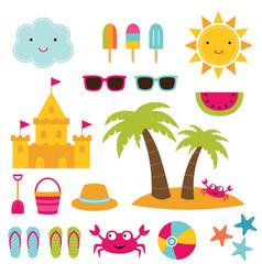 summer beach design elements vector image