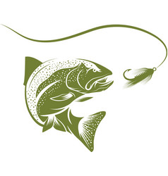trout fish and lure design template vector image vector image