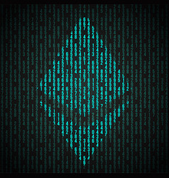 digital symbol of cryptocurrency ethereum vector image vector image