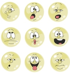 Emotion smiles yellow color set 011 vector image vector image