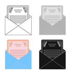 Envelope with invitation card icon in cartoon vector