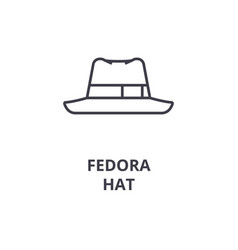 fedora hat line icon outline sign linear symbol vector image vector image