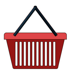 shopping basket icon in colorful silhouette with vector image vector image