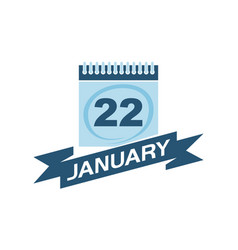 22 january calendar with ribbon vector