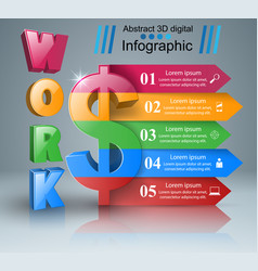 3d infographic design dollar work icon vector