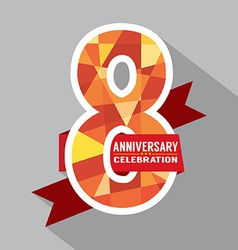8th Years Anniversary Celebration Design vector image