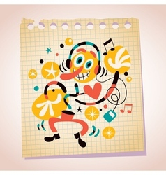 Abstract music fan with headphones note paper vector