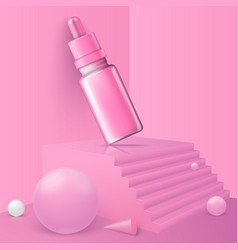 abstract scene podium and cosmetics bottle vector image