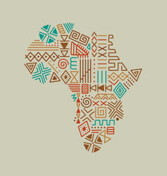 Africa continent map tribal art icon isolated vector