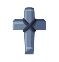 ancient stone cross happy halloween object vector image