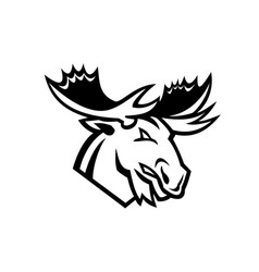 Angry moose or elk looking to side mascot black vector
