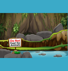 Background scene park with no feeding sign vector