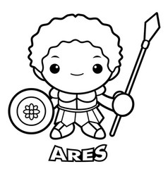 black and white god of war ares character olympus vector image