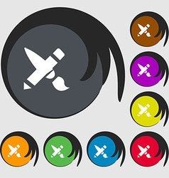Brush Icon sign Symbols on eight colored buttons vector