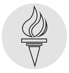 burning torch line icon simple icon on dark grey vector image