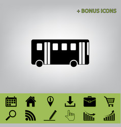 bus simple sign black icon at gray vector image