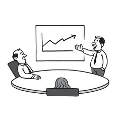 Business meeting strategy cartoon drawing vector