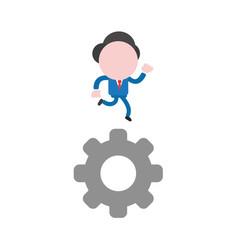 Businessman character running on gear vector