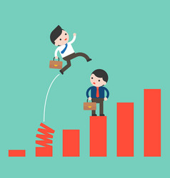 Businessman jumping from spring chart shortcut vector