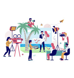 Camera crew shooting clip with happy couple on vector