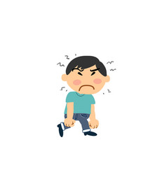 Cartoon character asian boy angry vector