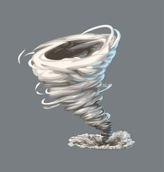 Cartoon colorful tornado on grey vector