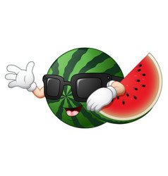 cartoon watermelon waving hand vector image