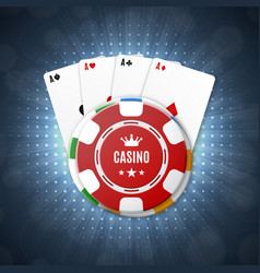 Casino chips with playing cards vector