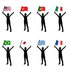 Child silhouette holding flags vector