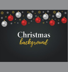 christmas background with 3d realistic ball vector image