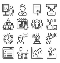coach and instructor icons set on white background vector image