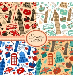 collection seamless patterns with london vector image
