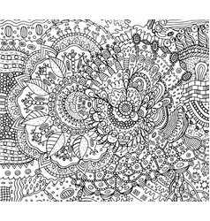 coloring page for adults with boho doodle vector image
